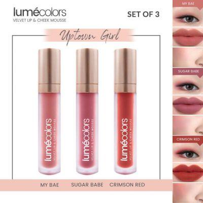 Lumecolors Velvet Lip & Cheek Mousse Uptown Girl - Set of 3
